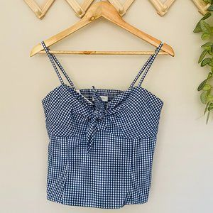 Forever New Size 12 Checkered Bow Tie Top